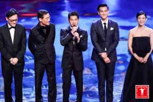 The cast of Cold War 2 at the opening ceremony. From left: Director Longmond Leung, Tony Leung, Aaron Kwok, Eddie Peng and Charlie Young